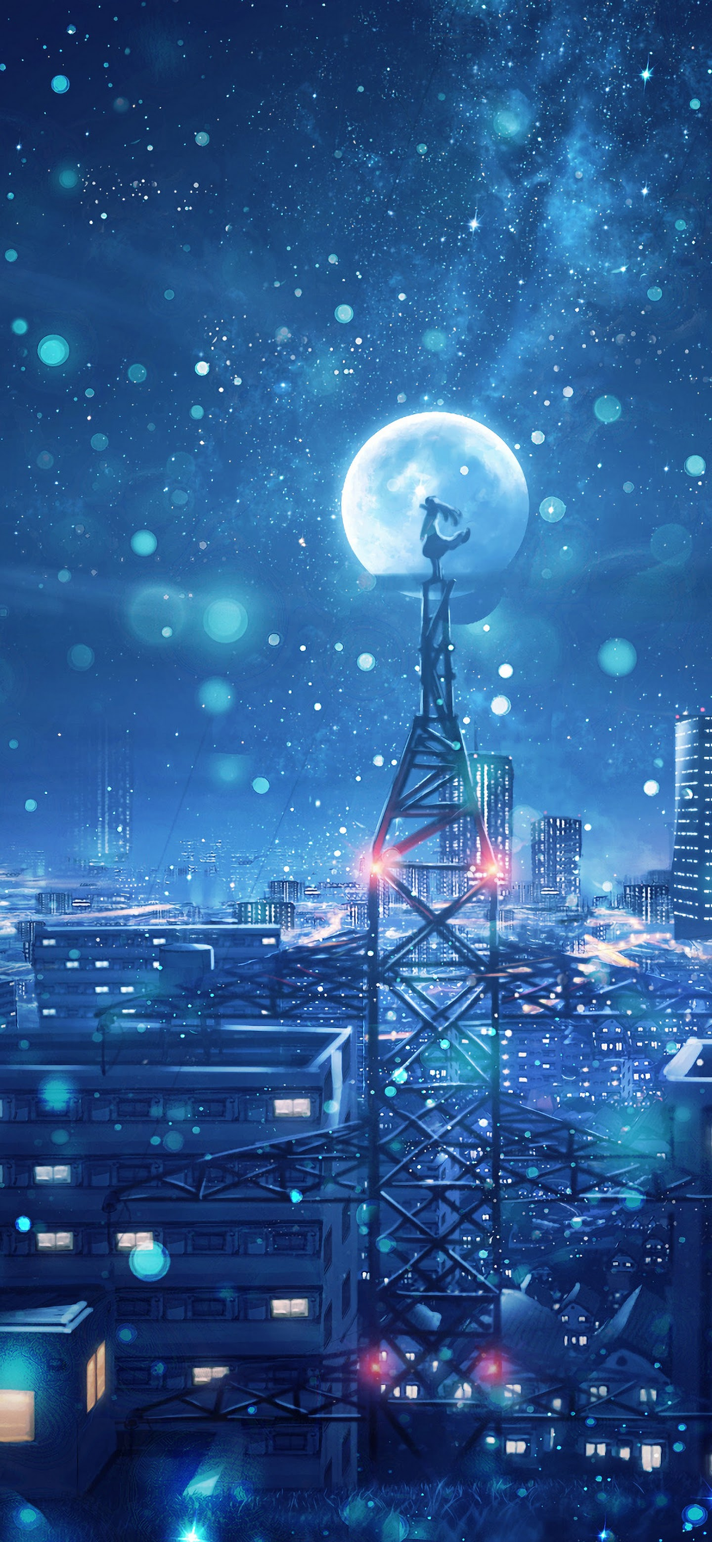 Night Sky City Stars Anime Scenery 4k Wallpaper 135