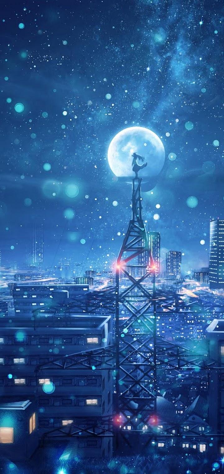 Night Sky City Stars Anime Scenery 4k Wallpaper 135