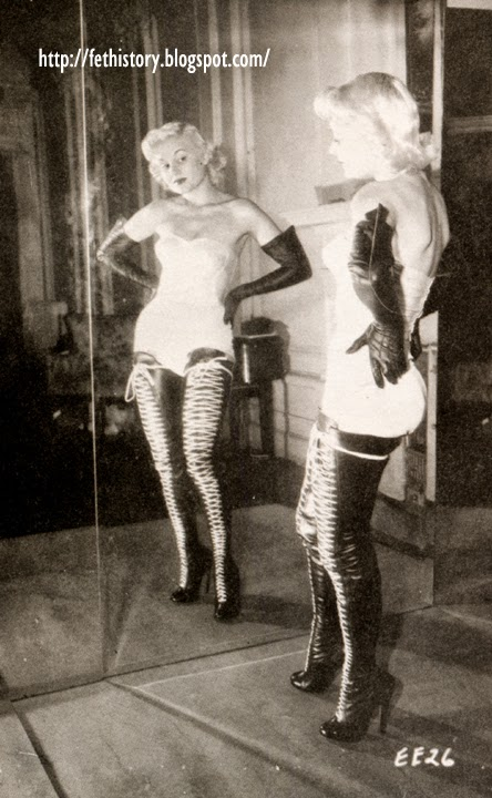 Irving Klaw model Vicki Hayes vintage boots, Charles Guyette