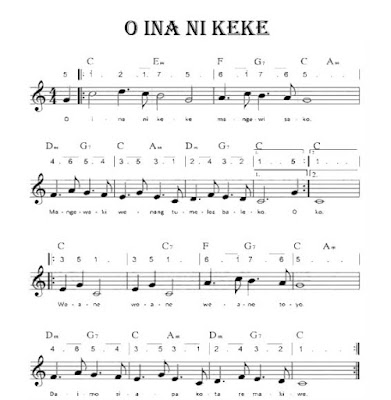 Lagu O Ina Ni Keke Lengkap Dengan Not Dan Chordnya