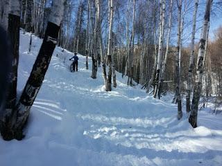 Спуск в Тёмную падь после снегопада