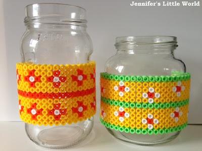 Hama bead covered jam jars craft