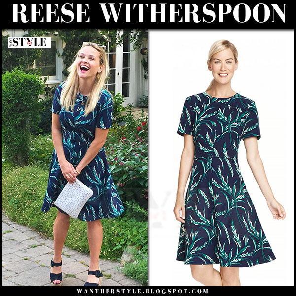 Reese Witherspoon in blue green grass print dress draper james what she wore