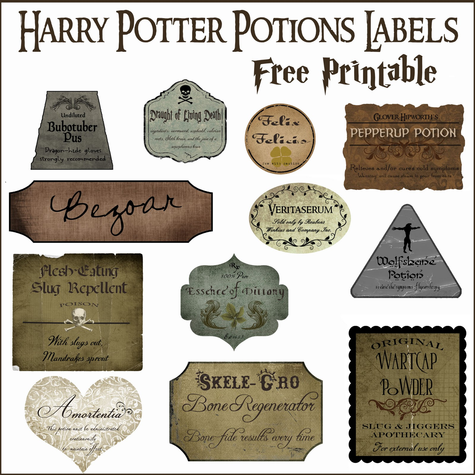 image relating to Free Printable Camping Signs named Harry Potter Potion Label Printables - Higher than the Substantial Moon