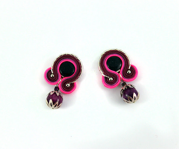 small earrings, soutache earrings, violet and pink, handmade jewelry, jewellery, handcrafted,