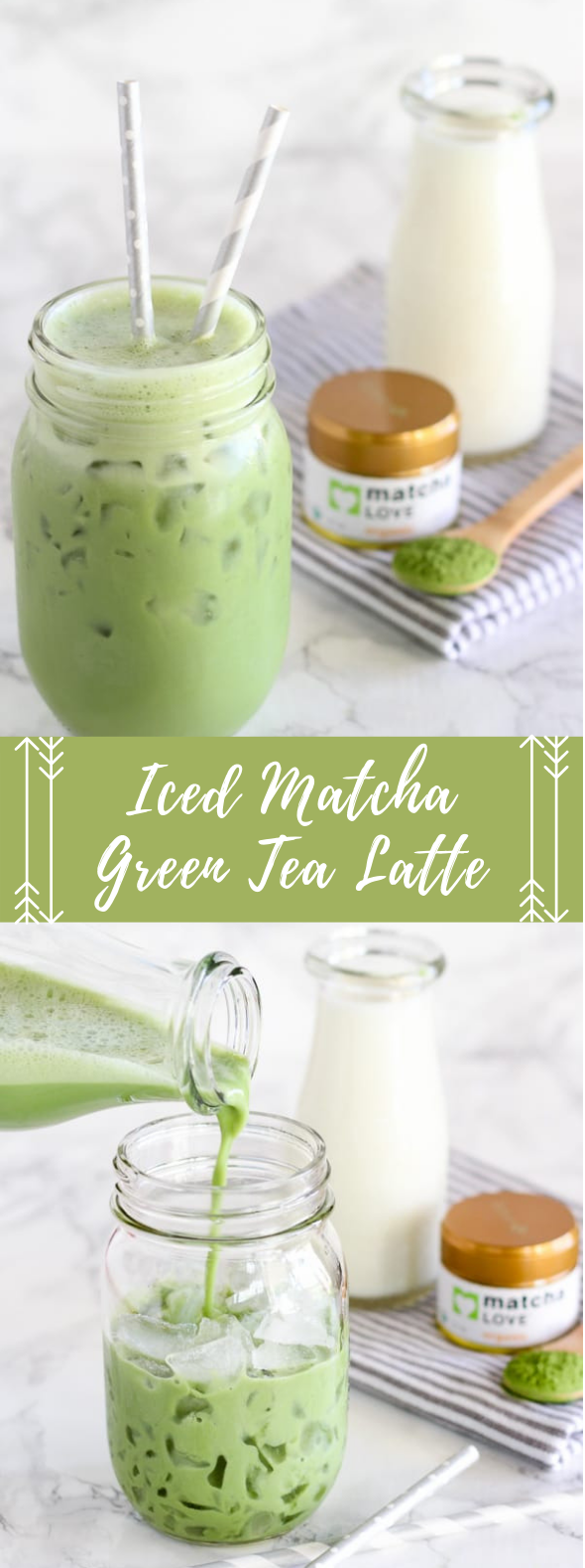 ICED MATCHA GREEN TEA LATTE #drink #greentea