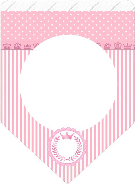 Banderines de Corona Rosada para imprimir gratis.