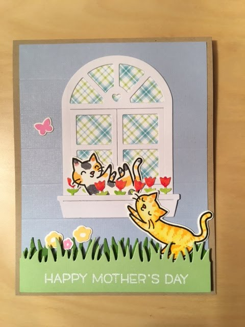 Kitties in window, front view, Lawn Fawn