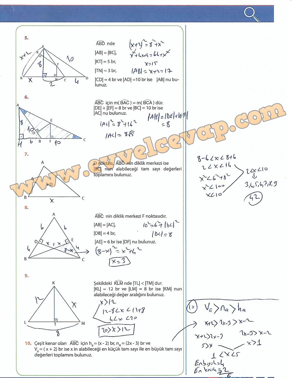 9.Sınıf Matematik MEB Yayınları Ders Kitabı 257.Sayfa Cevapları Üçgenler