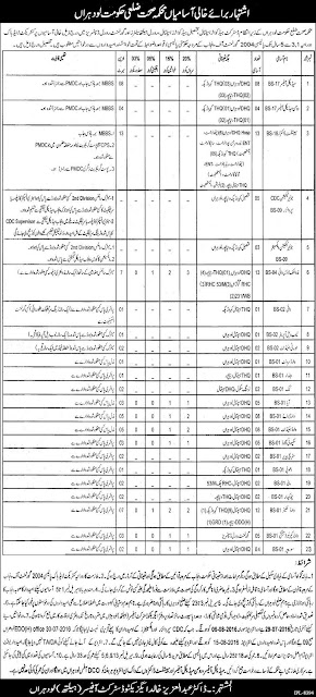 Doctors & Admin Jobs in Health Department Lodhran Doctors Jobs in Pakistan 2016