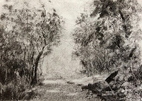 Study work of landscape created using willow charcoal. By Manju Panchal