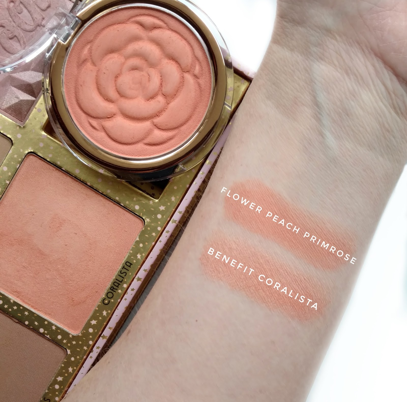 Flower beauty flower pots blush review swatches dupes peach primrose is very similar to benefit coralista but even more pigmented izmirmasajfo