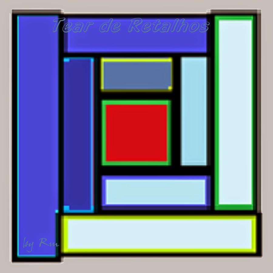 """Exemplo de um bloco """"log cabin"""", uma das técnicas do patchwork"""