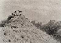 Pencil drawing of Key monastery in sketch book