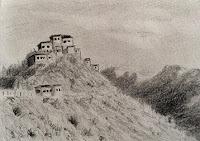 Pencil drawing of Key monastery in sketch book
