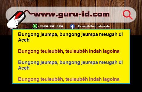 gambar lirik lagu bungong jeumpo dan terjemahannya