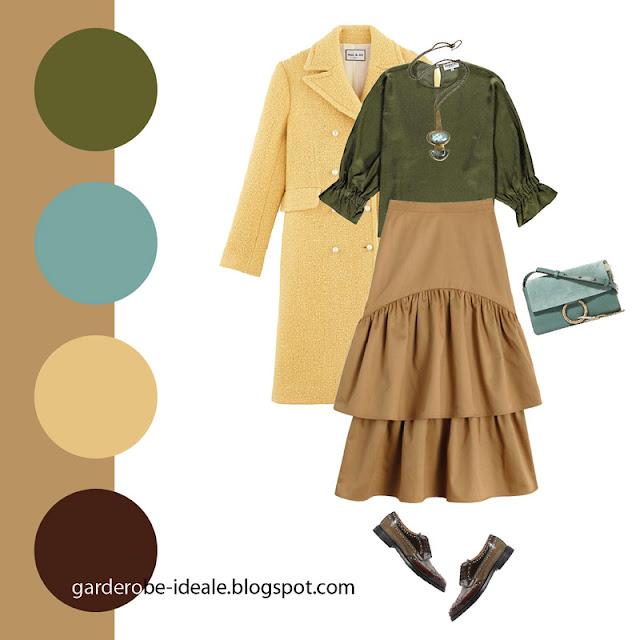 Зеленая блузка с пышными рукавами с юбкой с воланами цвета кэмел и желтым пальто