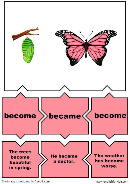 easy English irregular verbs flashcards become