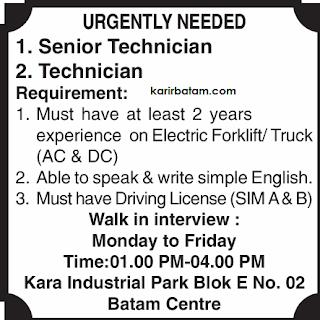 Lowongan Kerja Technician Batam Centre