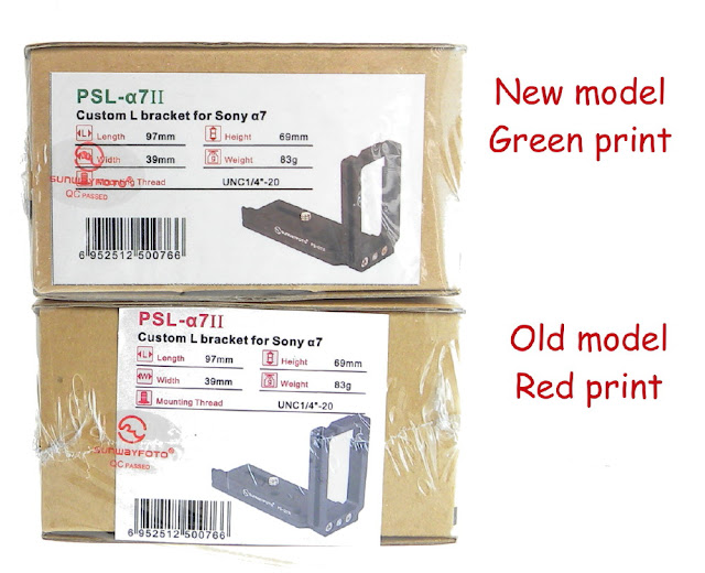 New Sunwayfoto PSL-a7II Box print vs old Box print