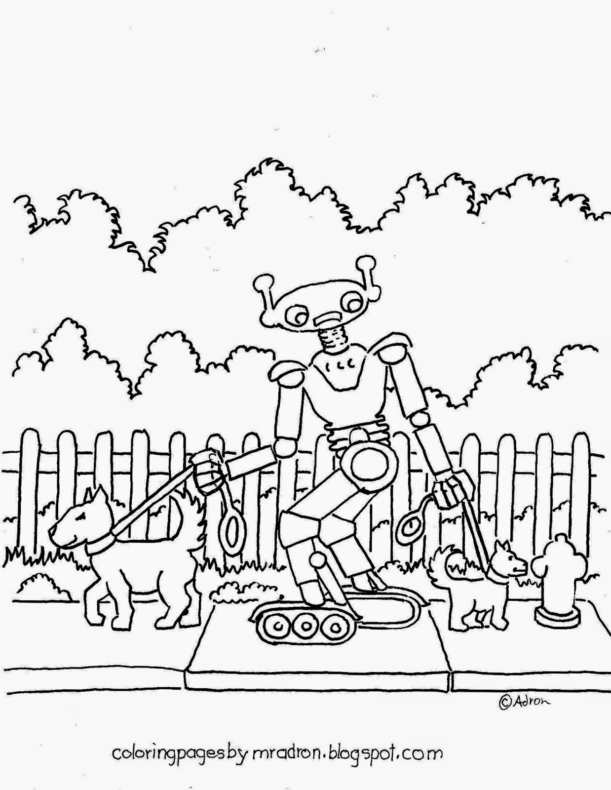 Coloring Pages For Kids By Mr Adron Robot Walks The Dogs