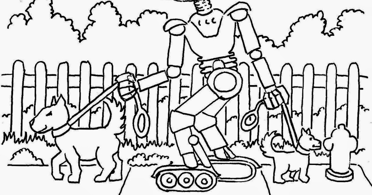 Coloring Pages for Kids by Mr. Adron: Robot Walks The Dogs