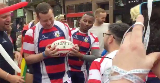 Gay rugby player proposes to boyfriend at Liverpool Pride