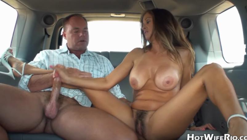 Wife strips in car