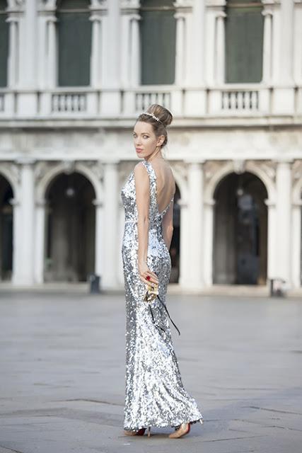 cusotm made sleeveless plunging neck sequin formal dress evening dress