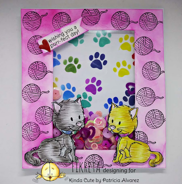Shaker card using little cat stamp by Kinda Cute by Patricia Alvarez