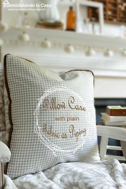 fall gingham pillow cases with fabric piping