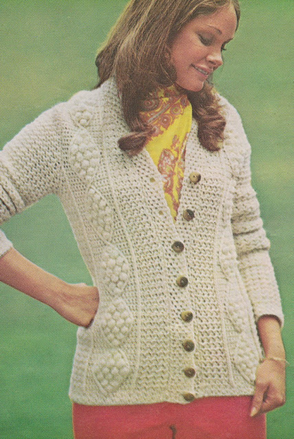 The Vintage Pattern Files: 1970's Crochet - Aran Cardigan