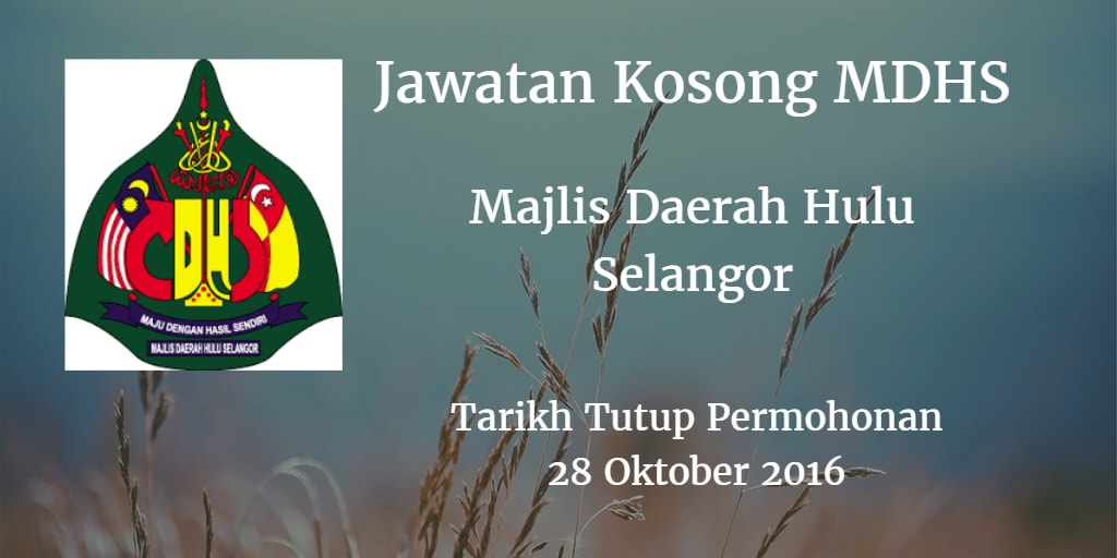 Jawatan Kosong MDHS 28 Oktober 2016