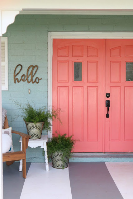 coral-painted-front-doors
