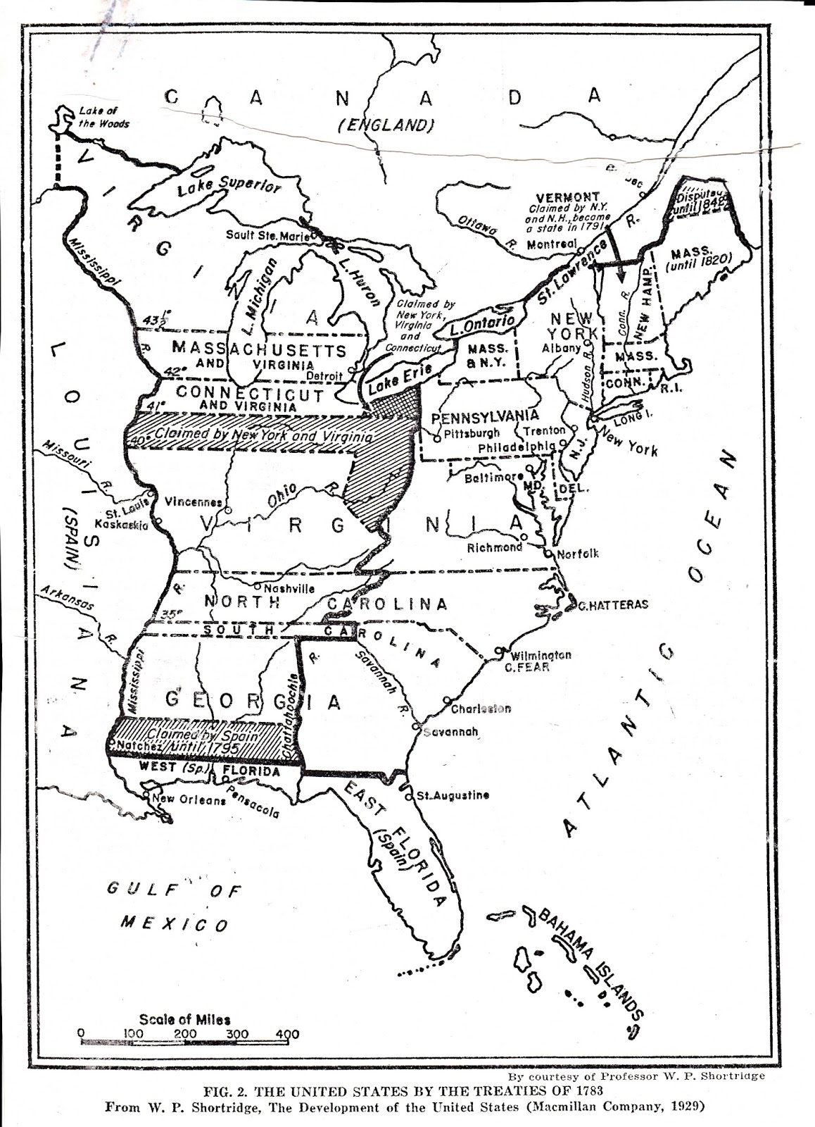 u s a map of 1783