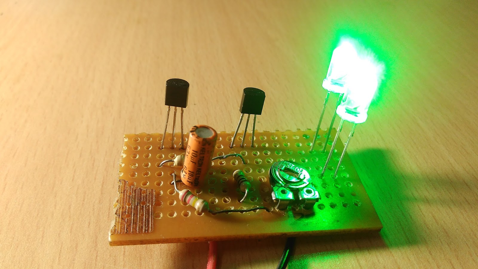 Blinking Led Lights Using Two Transistors One Capacitor Simple Circuit This Project Is On How To Make A Flashing Pcb Board Watch The Video For Detailed Build