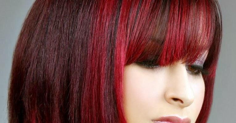 Bright Red Highlights In Dark Brown Hair