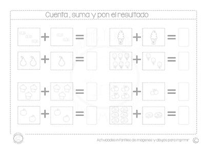 Sumas con dibujos para aprender a sumar
