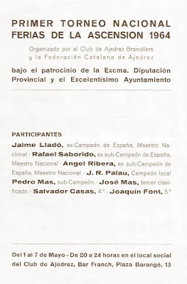 Página del folleto del I Torneo Nacional de Ajedrez de Granollers 1964