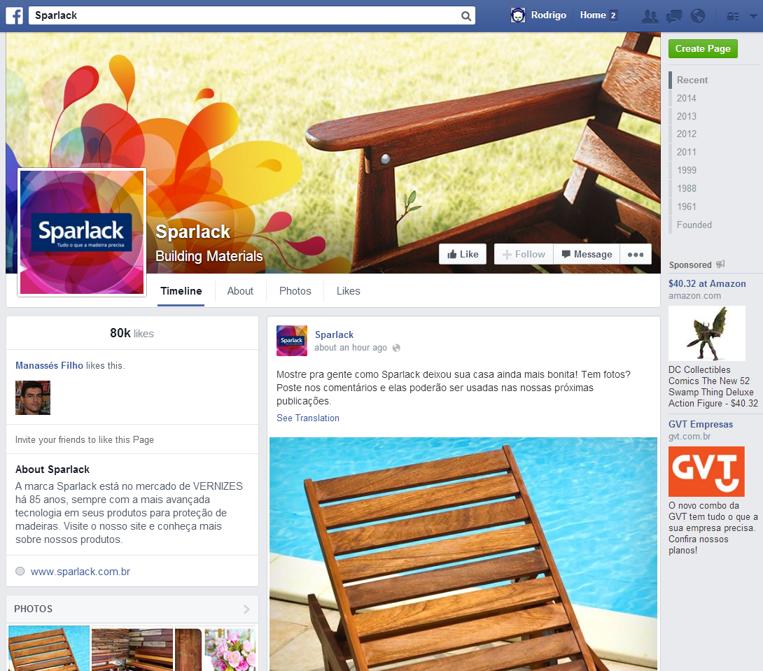 Novo Visual Sparlack Facebook