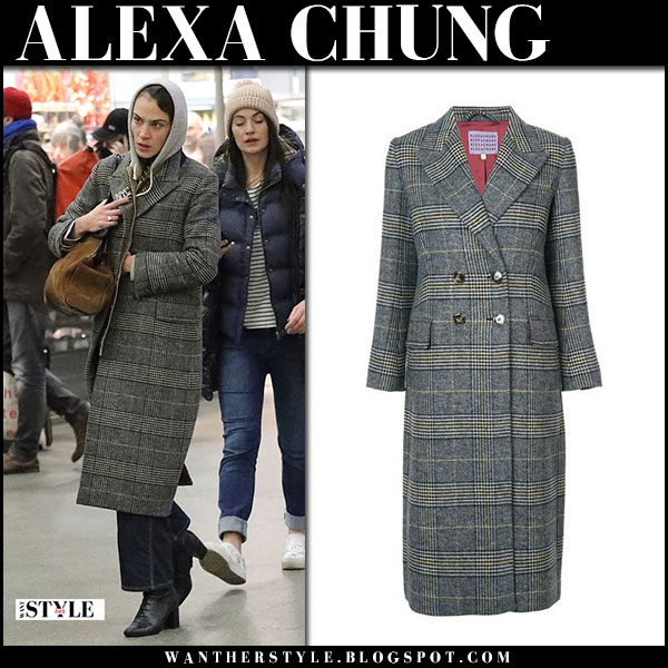 Alexa Chung in grey tweed checked coat street fashion march 4