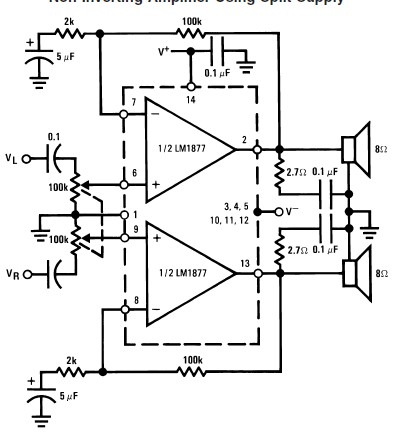 world technical: circuit amplifier Using LM1877