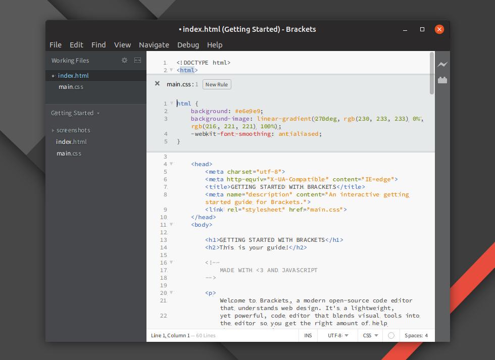 Open Source Web Design Editor Brackets 1 13 Released Linux Uprising Blog