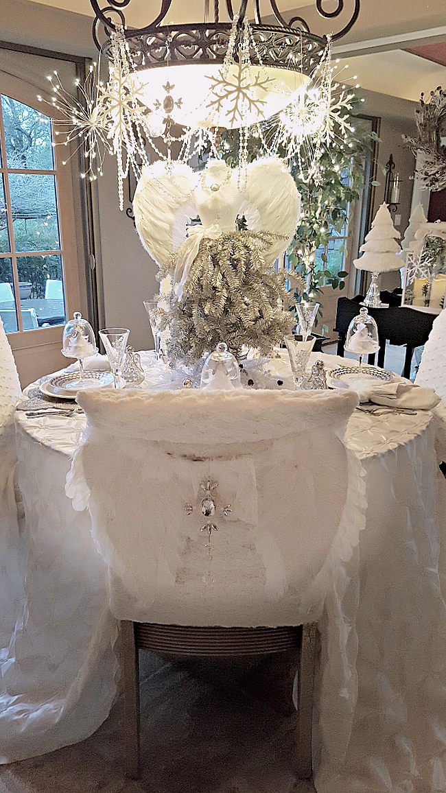 tablescape with angels - winter white and angels