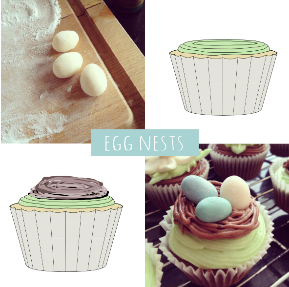 Egg nest decoration easter cupcake how to DIY