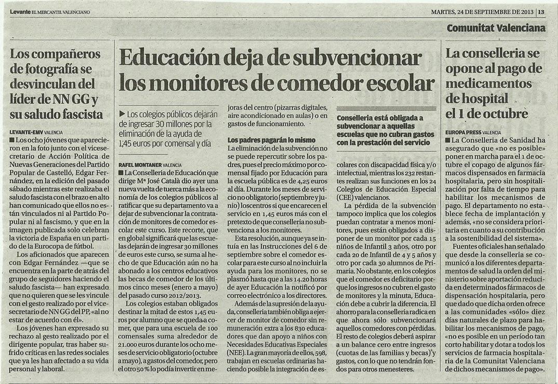 EDUCACION DEJA DE SUBVENCIONAR LOS MONITORES DE COMEDOR ...