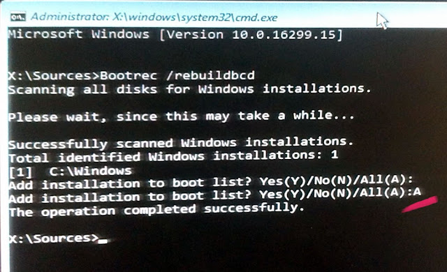 Add installation to boot list? Yes(Y)/No(N)/All(A):
