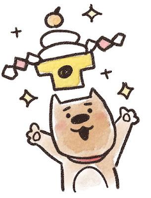 鏡餅を掲げる犬のイラスト(戌年)